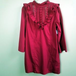 Free People High Neck Lace Red Shift Dress, L